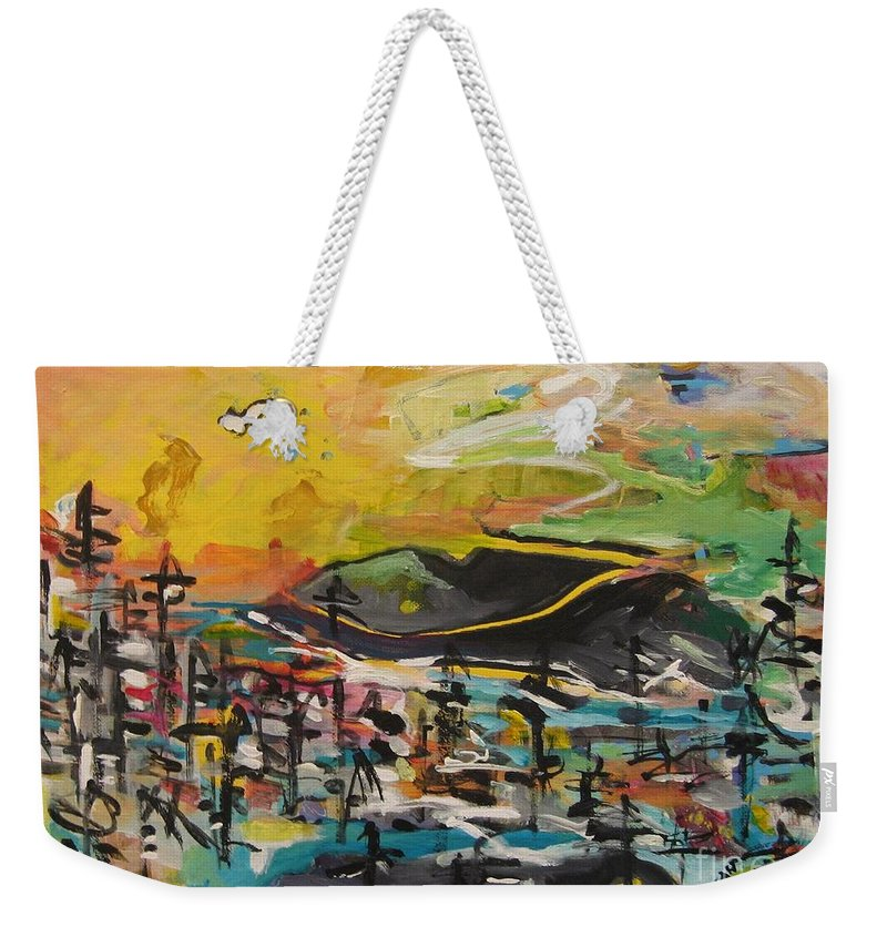 Abstract Paintings Weekender Tote Bag featuring the painting Bummer Flat2 by Seon-Jeong Kim