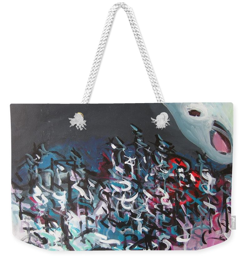 Abstract Paintings Weekender Tote Bag featuring the painting Bummer Flat7 by Seon-Jeong Kim