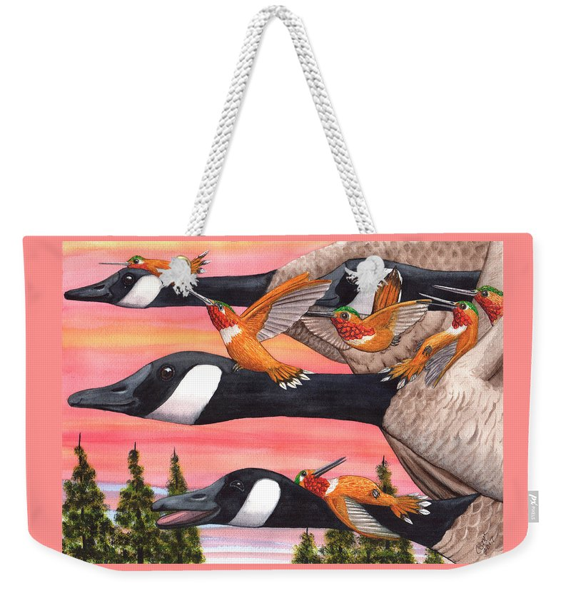 Geese Weekender Tote Bag featuring the painting Bumming a ride by Catherine G McElroy