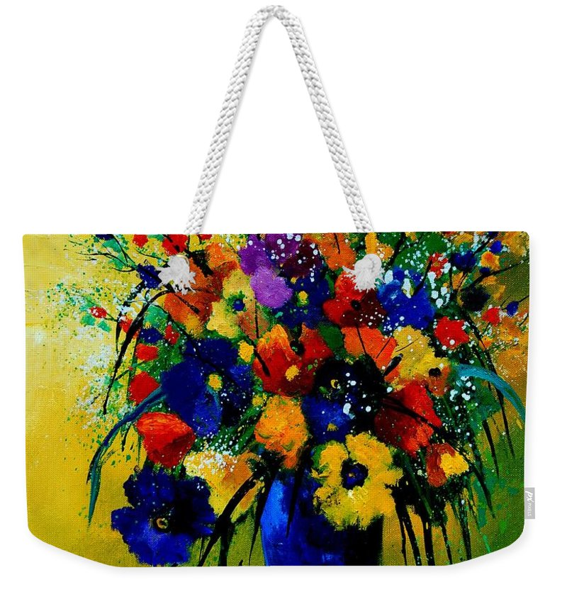 Poppies Weekender Tote Bag featuring the painting Bunch 0508 by Pol Ledent
