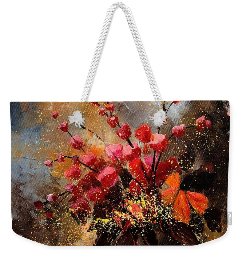 Poppies Weekender Tote Bag featuring the painting Bunch 1207 by Pol Ledent