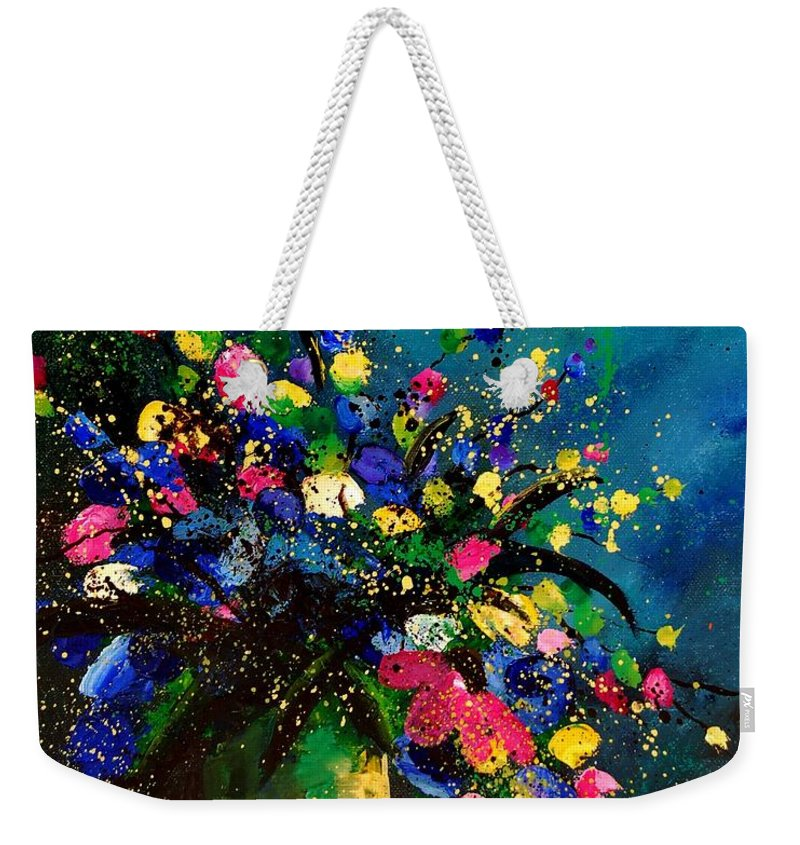 Poppies Weekender Tote Bag featuring the painting Bunch 45 by Pol Ledent