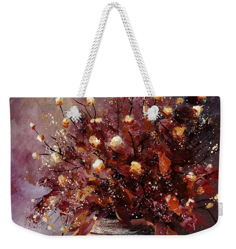 Poppies Weekender Tote Bag featuring the painting Bunch 56 by Pol Ledent