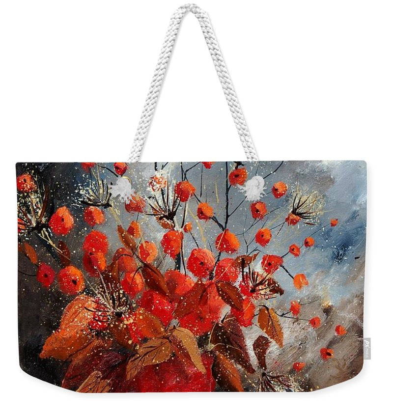 Flowers Weekender Tote Bag featuring the painting Bunch 560608 by Pol Ledent