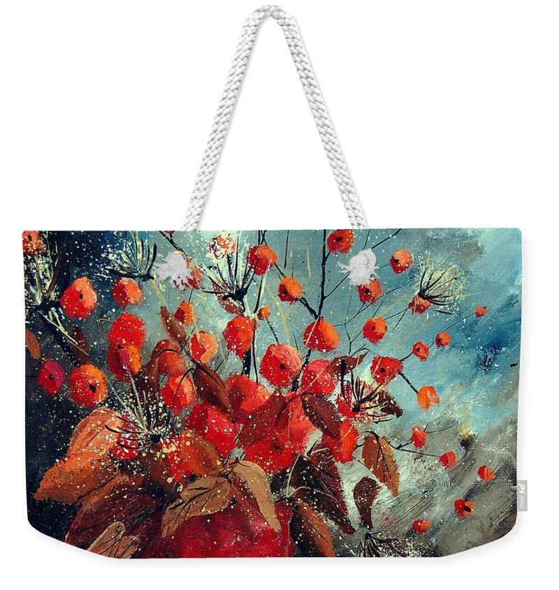 Flowers Weekender Tote Bag featuring the painting Bunch 562139854 by Pol Ledent