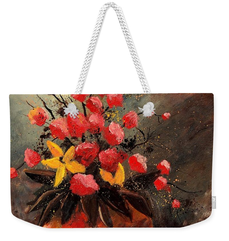 Flowers Weekender Tote Bag featuring the painting Bunch 569060 by Pol Ledent