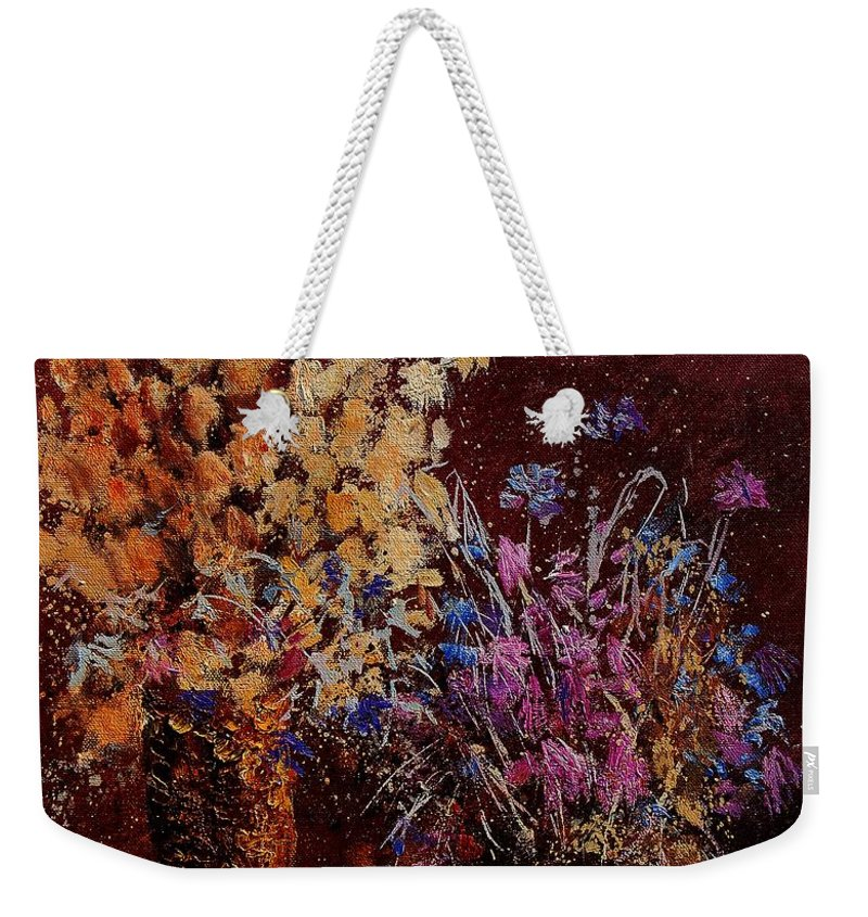 Flowers Weekender Tote Bag featuring the painting Bunch Of Dried Flowers by Pol Ledent