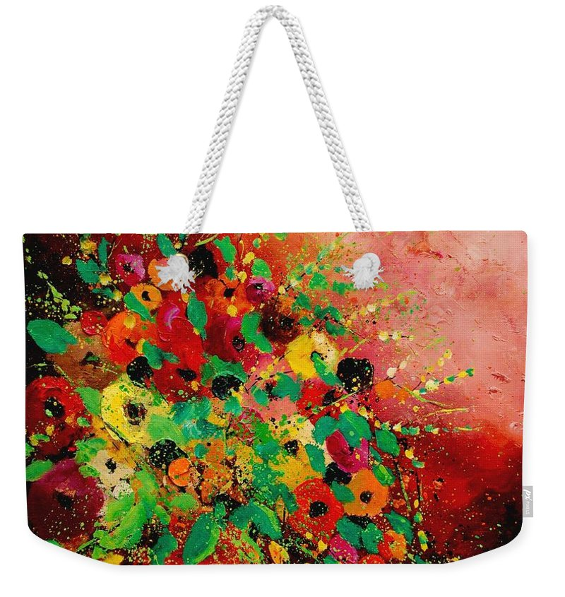 Flowers Weekender Tote Bag featuring the painting Bunch Of Flowers 0507 by Pol Ledent