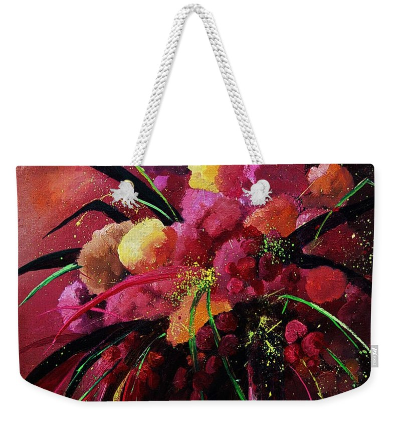 Flowers Weekender Tote Bag featuring the painting Bunch Of Red Flowers by Pol Ledent
