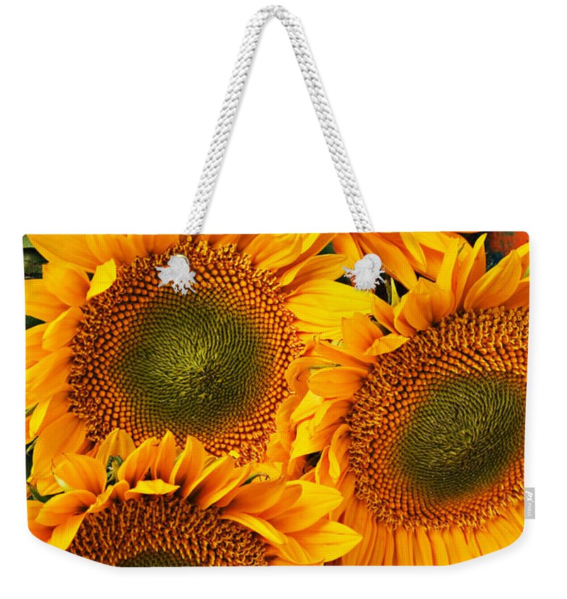 Sunflowers Weekender Tote Bag featuring the photograph Bunch Of Sunflowers by Garry Gay
