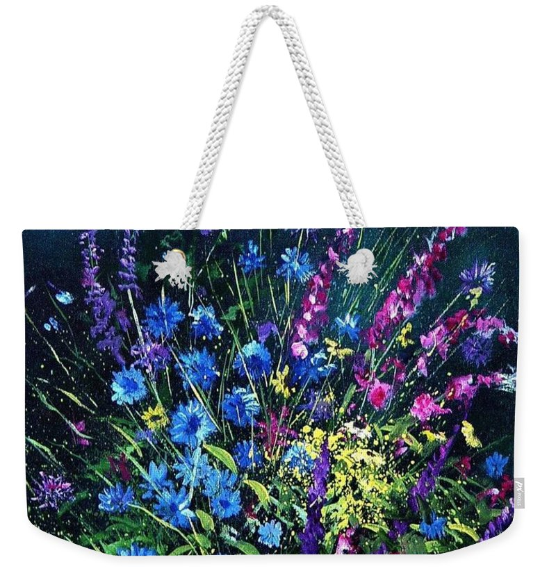 Poppies Weekender Tote Bag featuring the painting Bunch Of Wild Flowers by Pol Ledent