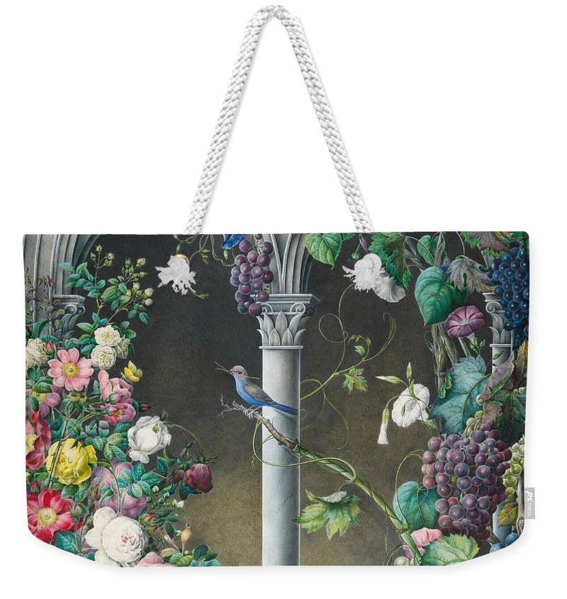 Bird Weekender Tote Bag featuring the painting Bunches Of Roses Ipomoea And Grapevines by Eugene Joseph Prevost