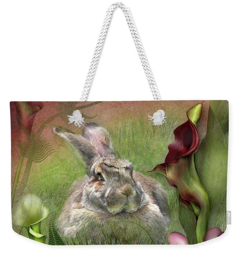Bunny Weekender Tote Bag featuring the mixed media Bunny In The Lilies by Carol Cavalaris
