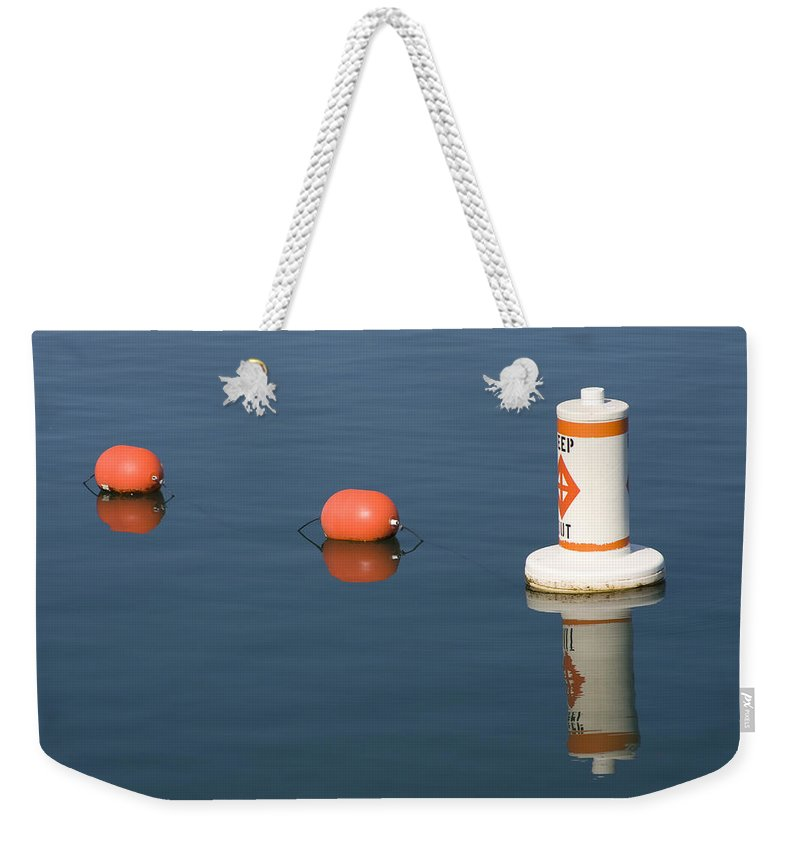 Chicago Windy City Buoy Water Lake Michigan Blue Reflection Mirror Orange Weekender Tote Bag featuring the photograph Buoy by Andrei Shliakhau