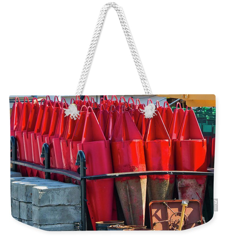 Buoys Weekender Tote Bag featuring the photograph Buoys For The Mississippi by Steven Ralser