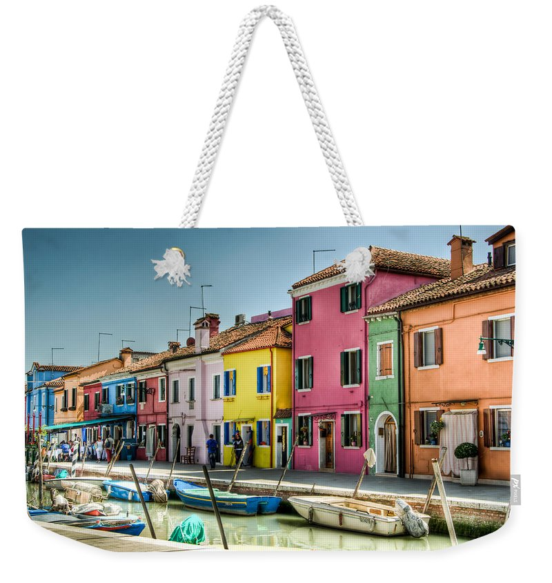 Burano Weekender Tote Bag featuring the photograph Burano Canal by Jon Berghoff