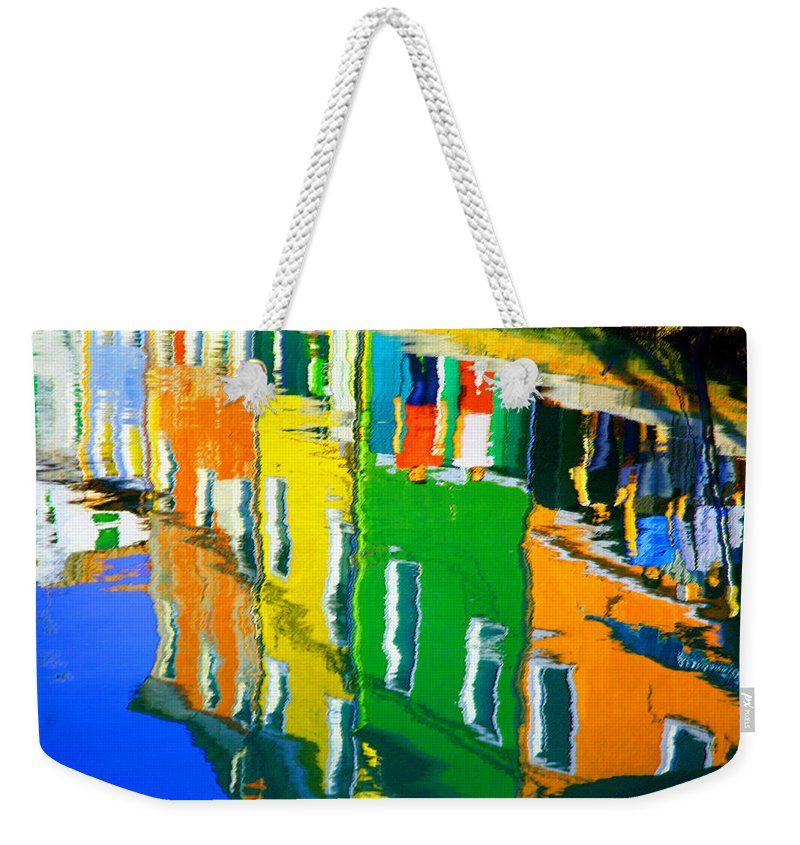 Burano Weekender Tote Bag featuring the pastel Burano Reflections by Donna Corless