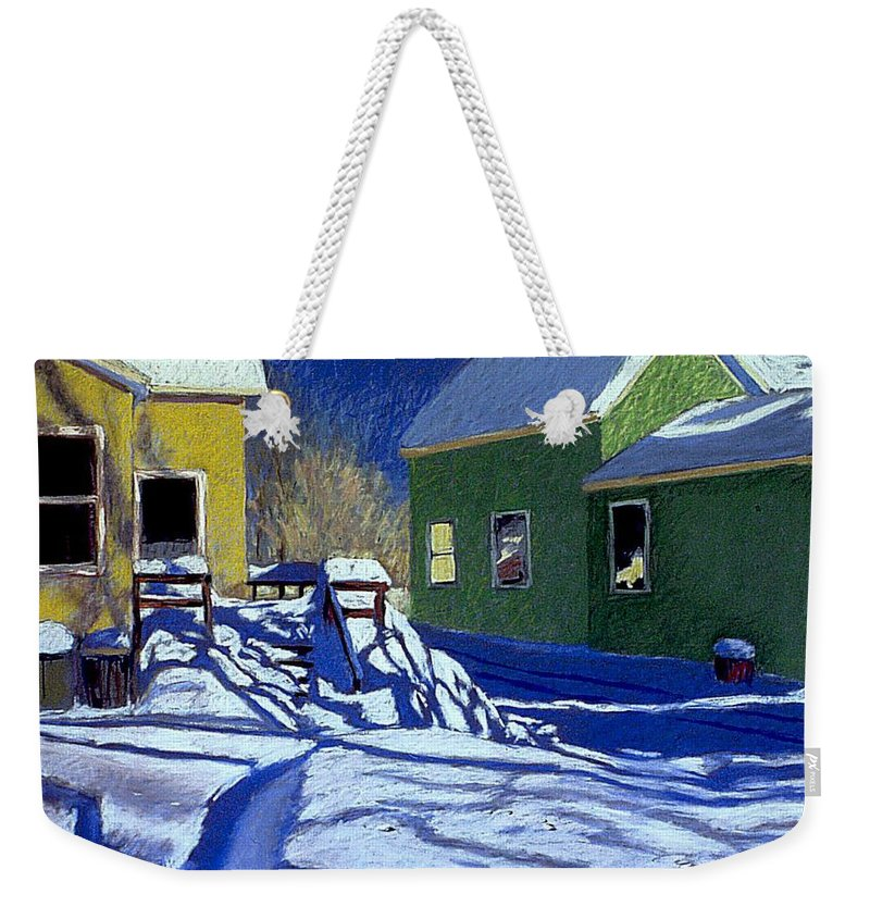 Landscape Weekender Tote Bag featuring the painting Buried Backyard by Mary McInnis