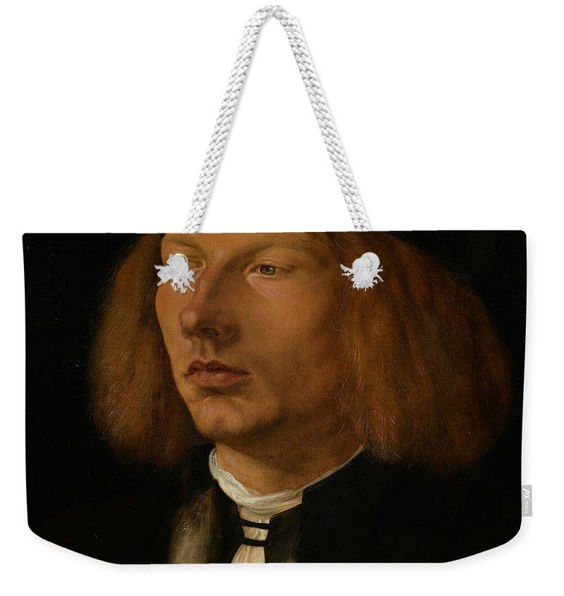 Albrecht Durer Weekender Tote Bag featuring the painting Burkhard Of Speyer by Albrecht Durer