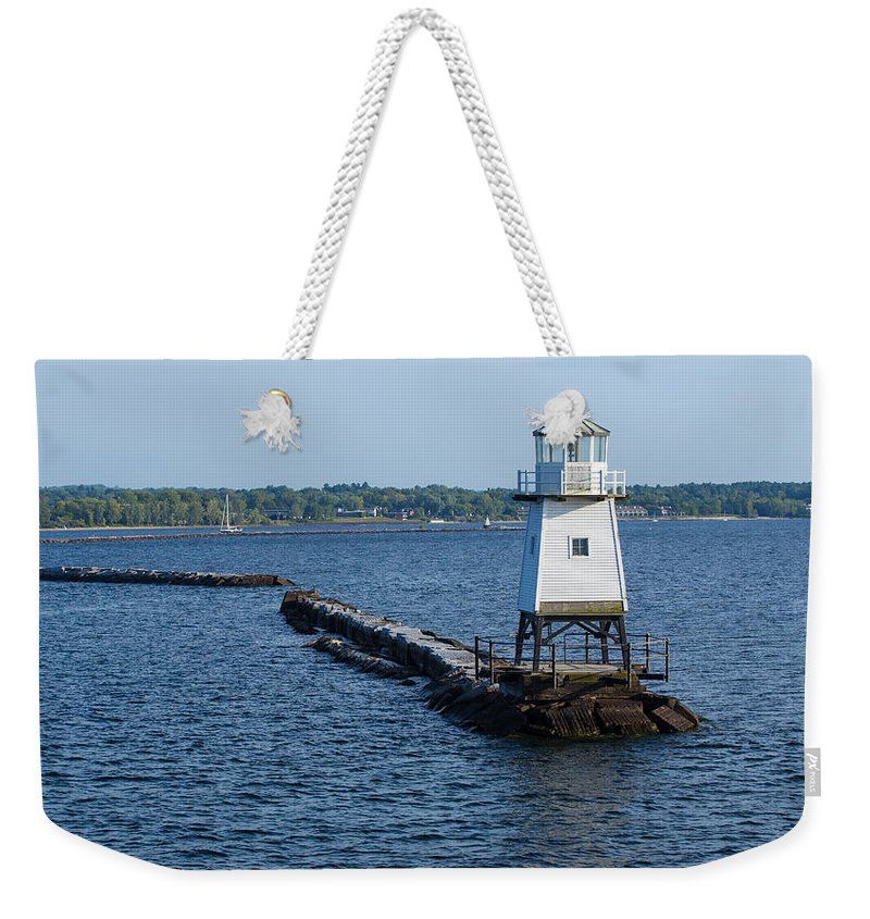Lake Champlain Weekender Tote Bag featuring the photograph Burlington Vermont Lighthouse by Michael French