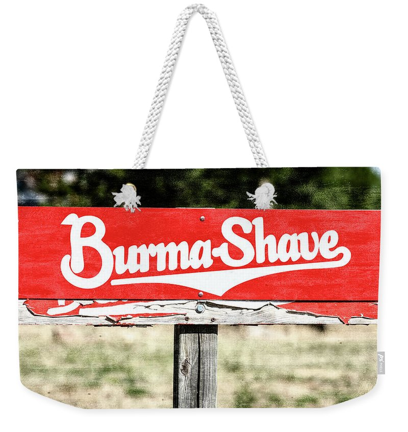 Burma-shave Weekender Tote Bag featuring the photograph Burma Shave #1 by Stephen Stookey