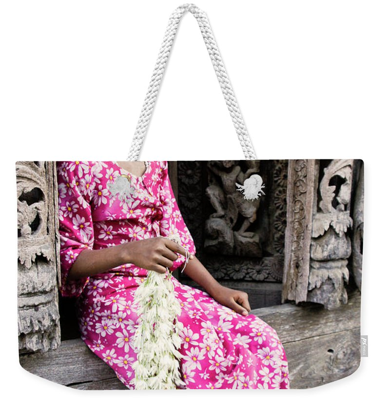 075burma's Golden Pagodaasia Weekender Tote Bag featuring the photograph Burmese Flower Vendor by Michele Burgess