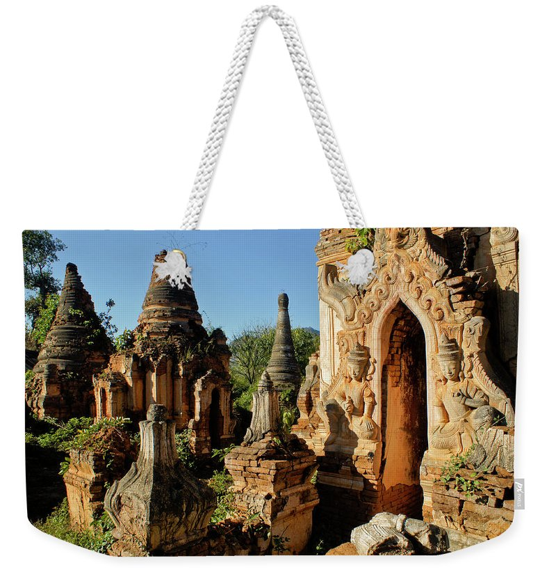Asia Weekender Tote Bag featuring the photograph Burmese Pagodas In Ruins by Michele Burgess