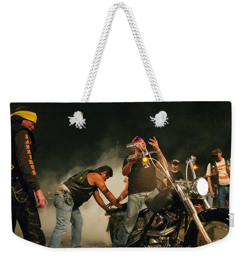 Biker Weekender Tote Bag featuring the photograph Burn Out by Skip Hunt