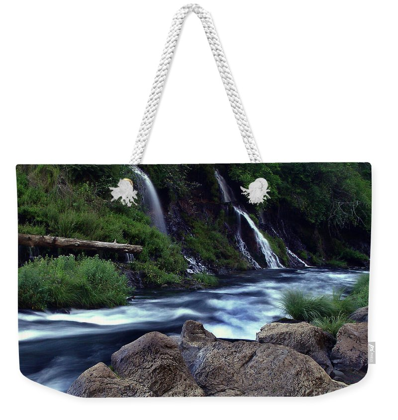 River Weekender Tote Bag featuring the photograph Burney Falls Creek by Peter Piatt
