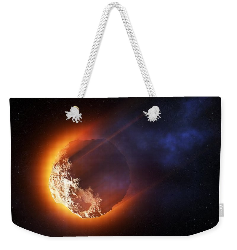 Asteroid Weekender Tote Bag featuring the photograph Burning Asteroid Entering The Atmoshere by Johan Swanepoel