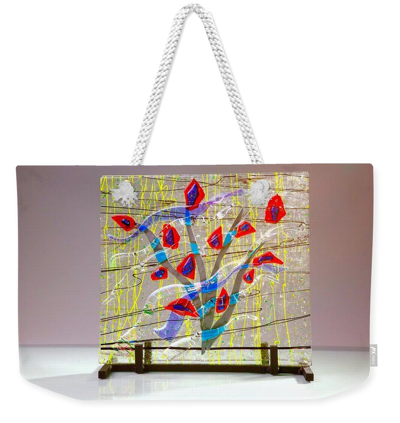 Fused Art Glass Weekender Tote Bag featuring the photograph Burning Bush by Mykel Davis