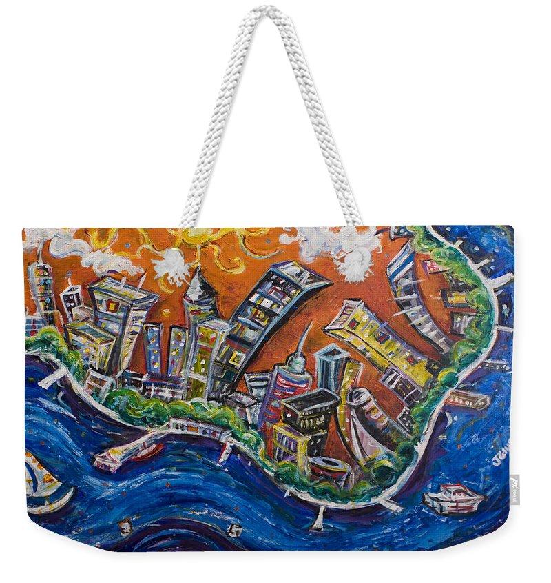 New York City Manhattan Hudson River Weekender Tote Bag featuring the painting Burning City by Jason Gluskin