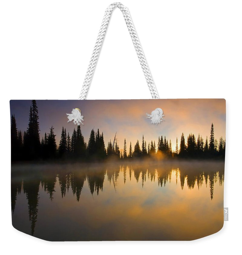 Lake Weekender Tote Bag featuring the photograph Burning Dawn by Mike Dawson