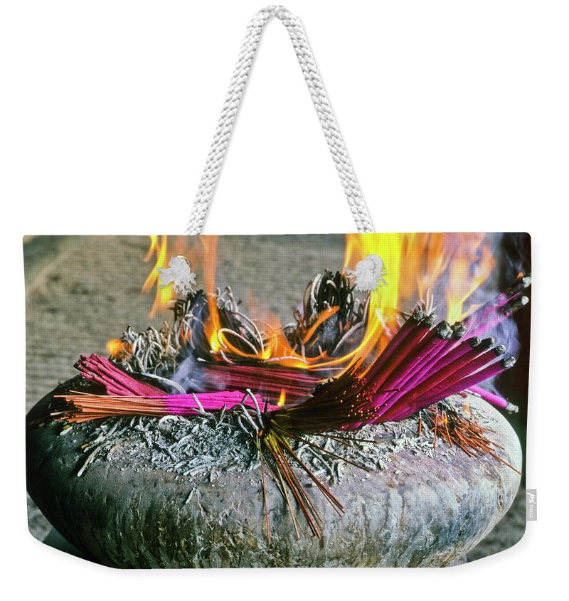 China Weekender Tote Bag featuring the photograph Burning Joss Sticks by Michele Burgess