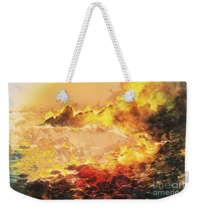 Burning Weekender Tote Bag featuring the digital art Burning Shore by Davy Cheng