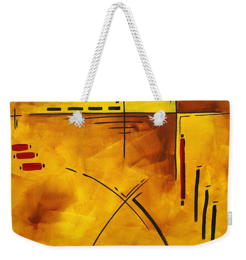 Abstract Weekender Tote Bag featuring the painting Burnt Desires By Madart by Megan Duncanson