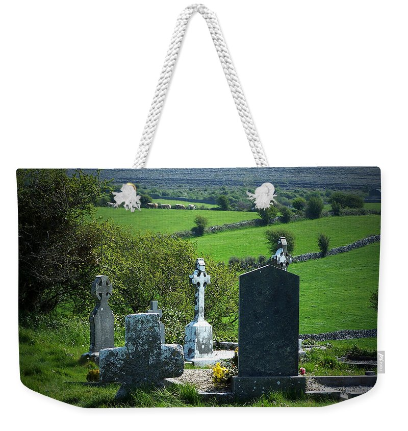 Irish Weekender Tote Bag featuring the photograph Burren Crosses County Clare Ireland by Teresa Mucha