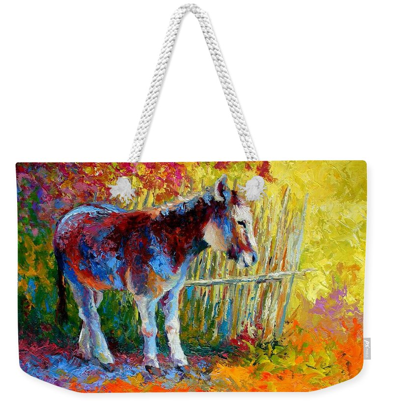 Western Weekender Tote Bag featuring the painting Burro And Bouganvillia by Marion Rose