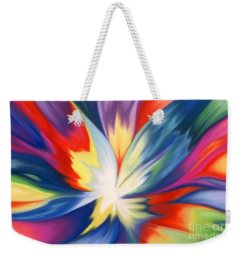 Abstract Weekender Tote Bag featuring the painting Burst Of Joy by Lucy Arnold