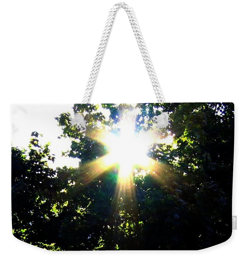 Sunburst Weekender Tote Bag featuring the photograph Burst Of Sunlight by Will Borden