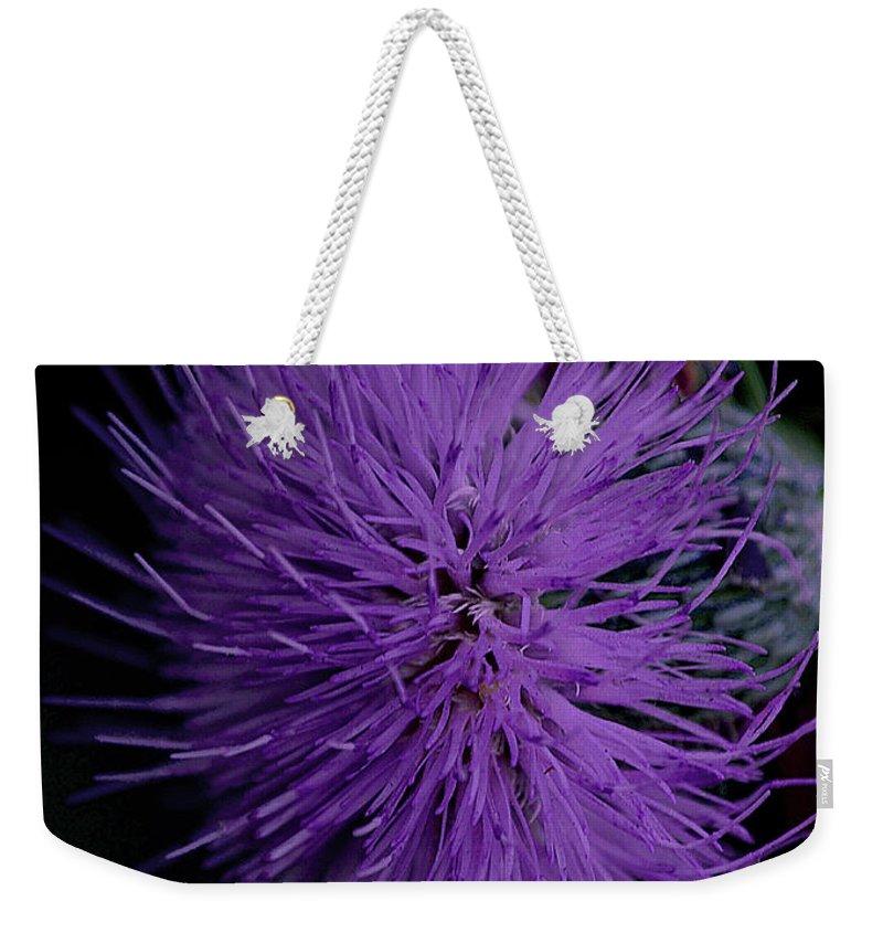 Wildflower Weekender Tote Bag featuring the digital art Burst Of Violet by DigiArt Diaries by Vicky B Fuller