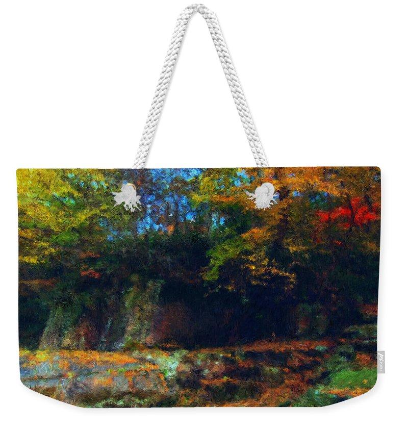 Autumn Weekender Tote Bag featuring the digital art Bursting Autumn Cheer by Stephen Lucas