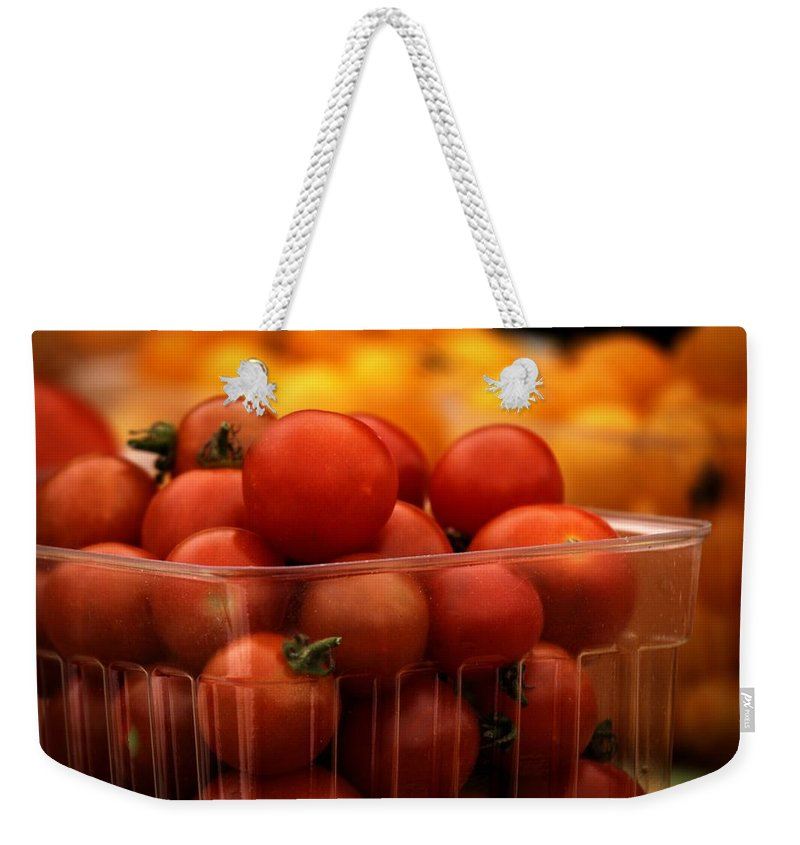 Cherry Tomatoes Weekender Tote Bag featuring the photograph Bursting With Color by LuAnn Griffin