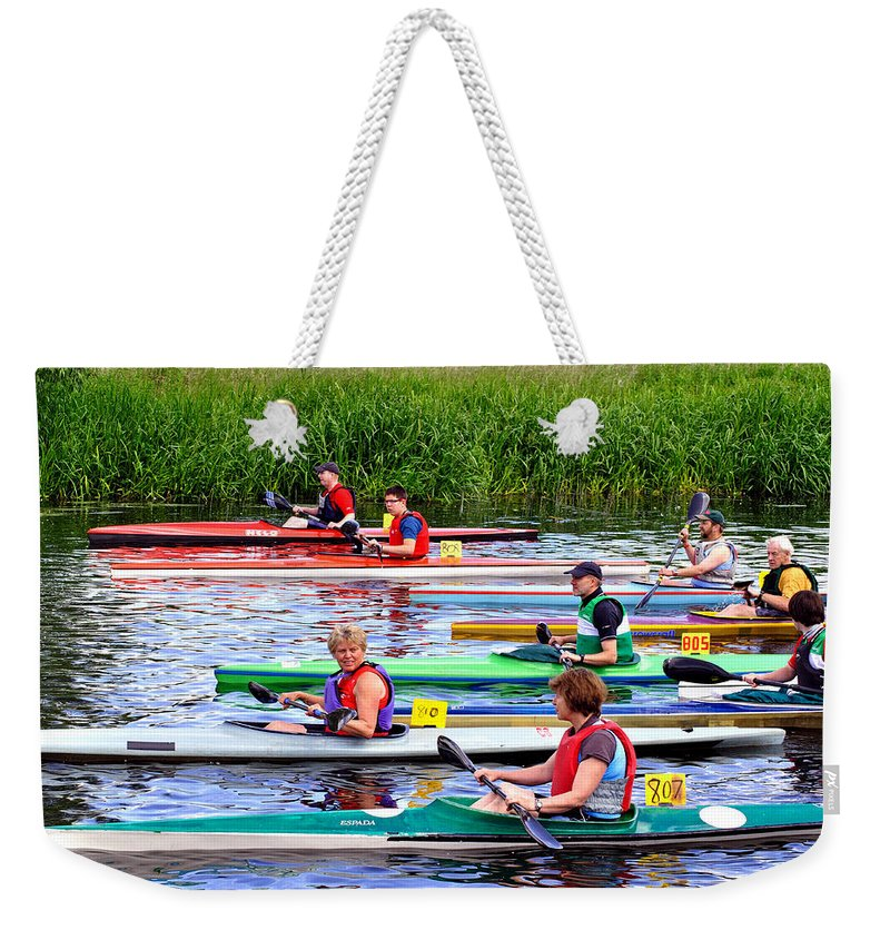 Summer Weekender Tote Bag featuring the photograph Burton Canoe Race At The Start by Rod Johnson