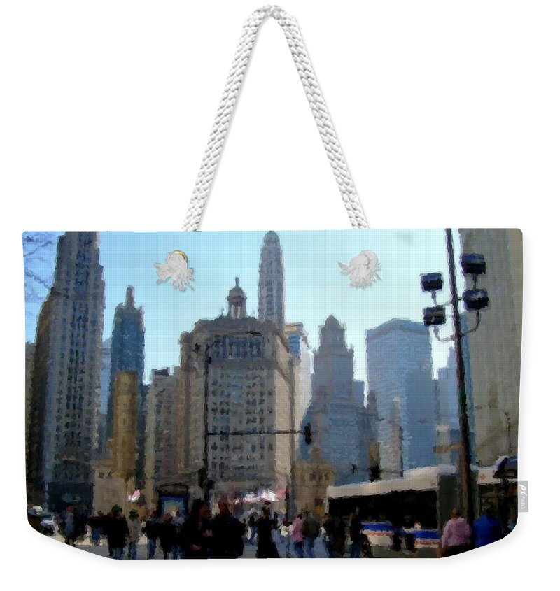 Archtecture Weekender Tote Bag featuring the digital art Bus On Miracle Mile by Anita Burgermeister