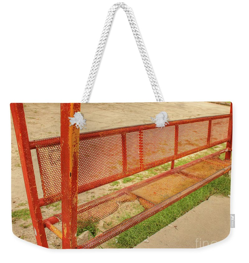 Bus Stop Weekender Tote Bag featuring the photograph Bus Stop by Lorraine Baum