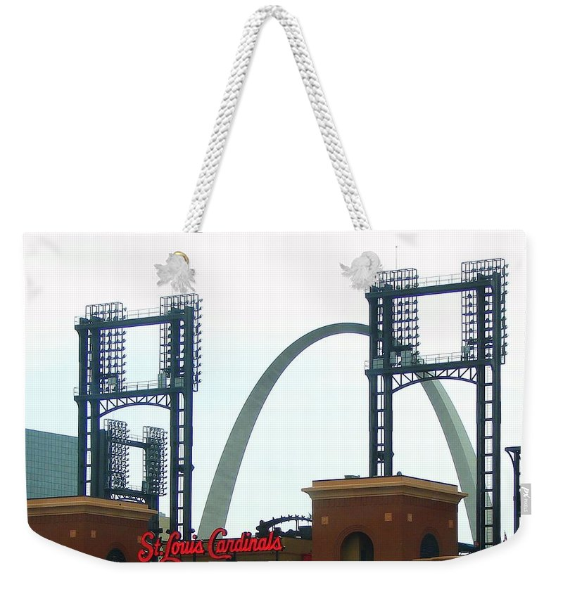 Photograph Weekender Tote Bag featuring the photograph Busch Stadium With Arch by J R Seymour