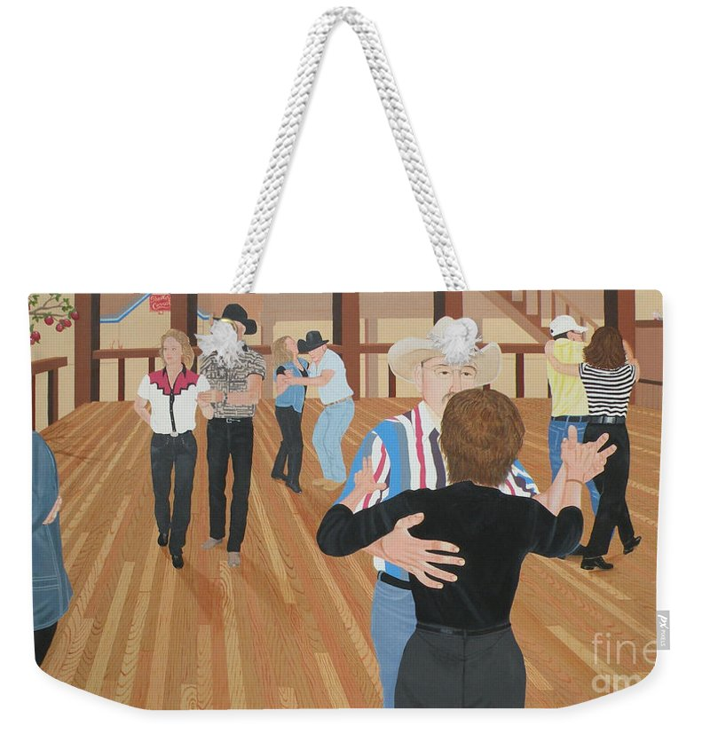Dance Weekender Tote Bag featuring the painting Bushwackers Forbidden Fruit And Stray Cats by Christine Belt
