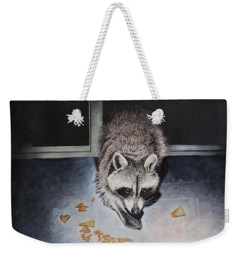 Raccoon Weekender Tote Bag featuring the painting Busted by Robbie Fitzpatrick