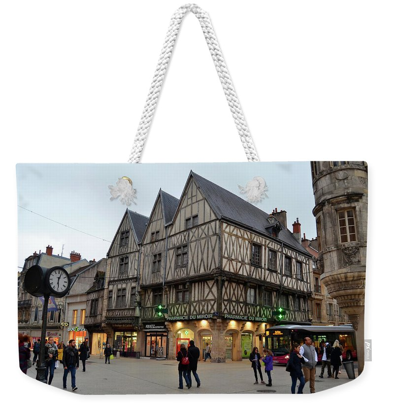 Bustling Weekender Tote Bag featuring the photograph Bustling Downtown by Dawn Crichton